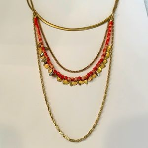 5/25 long multi layer gold tone necklace